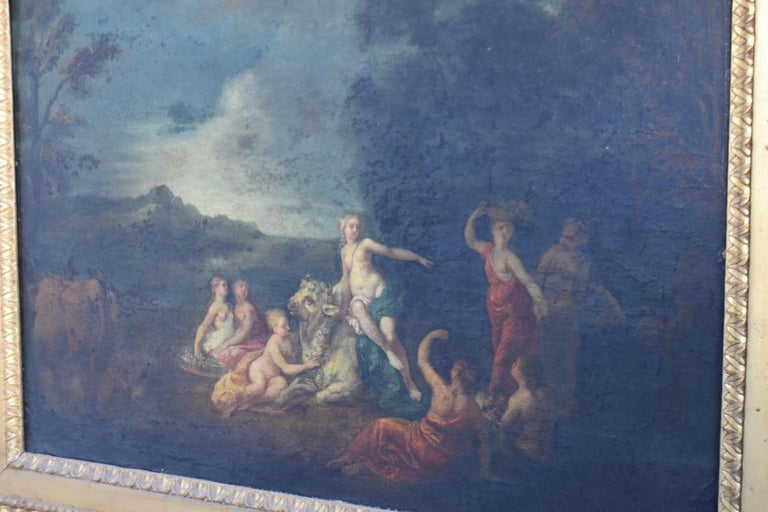 18th naiads and cow decorated oil on canvas Coypel School, 18th century oil painting on canvas size: 63 cm x 43 cm, frame size: 82 cm by 62 cm.