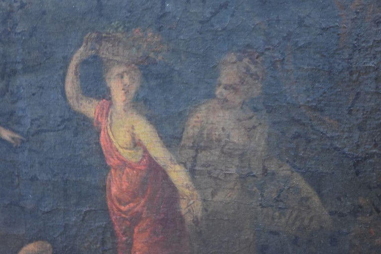 18th Naiads and Cow Decorated Oil on Canvas School of Coypel In Fair Condition For Sale In Marseille, FR