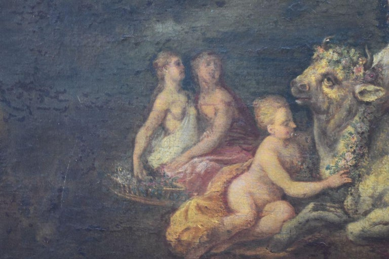 18th Naiads and Cow Decorated Oil on Canvas School of Coypel For Sale 3