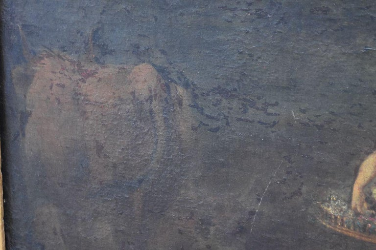 18th Naiads and Cow Decorated Oil on Canvas School of Coypel For Sale 4