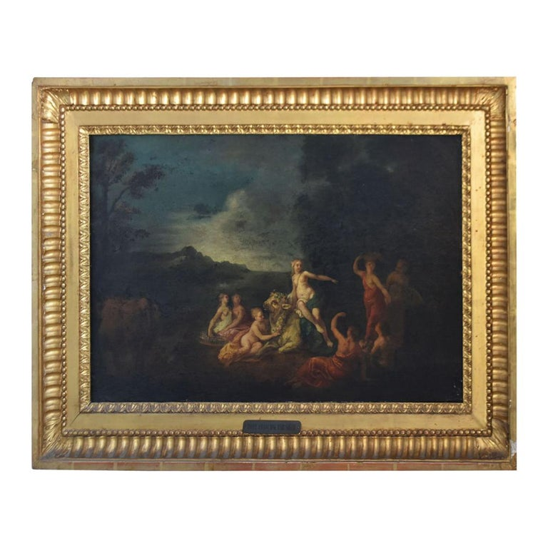 18th Naiads and Cow Decorated Oil on Canvas School of Coypel For Sale