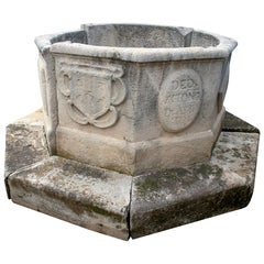 18th Octagonal Stone Wellhead with Family Emblems and Inscription