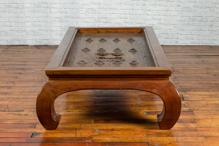 18th or 19th Century Elm Doors with Iron Hardware Made into a Ming Coffee Table For Sale 6