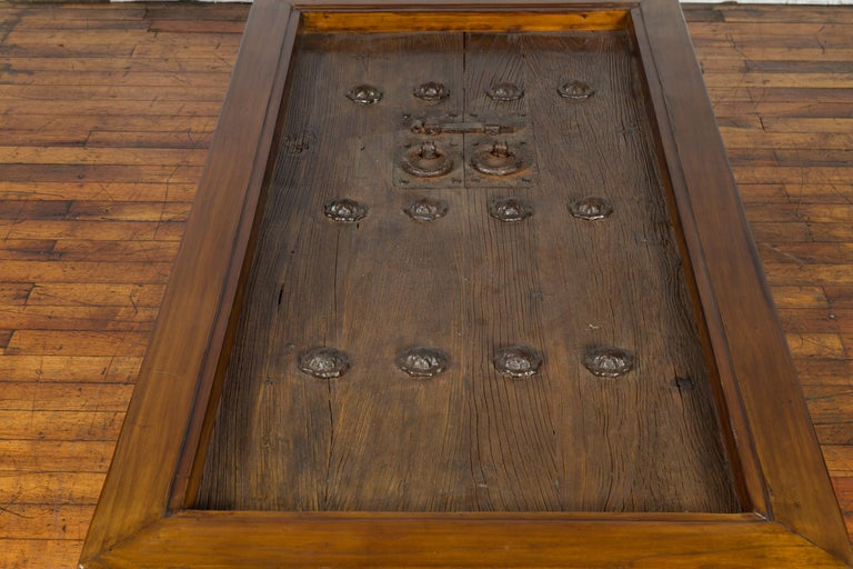 18th or 19th Century Elm Doors with Iron Hardware Made into a Ming Coffee Table For Sale 4