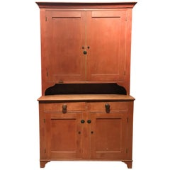 18th or 19th Century Pennsylvania Two Part Stepback Cupboard in Old Red Paint