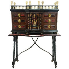 18th Original Italian Cabinet on Stand, Baroque Bargueno with Carey Inlays