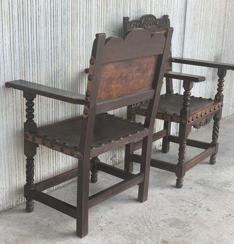 19th Century Pair of Colonial Catalan Spanish Altar Armchairs with Carved Leather For Sale
