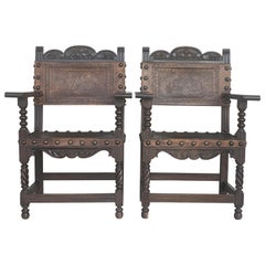 Pair of Colonial Catalan Spanish Altar Armchairs with Carved Leather