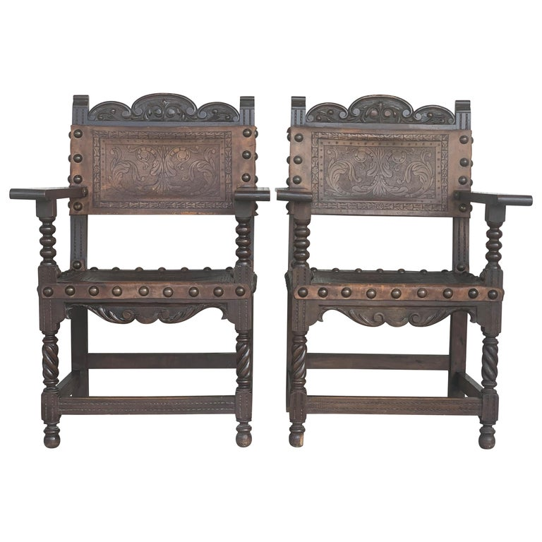 Pair of Colonial Catalan Spanish Altar Armchairs with Carved Leather For Sale