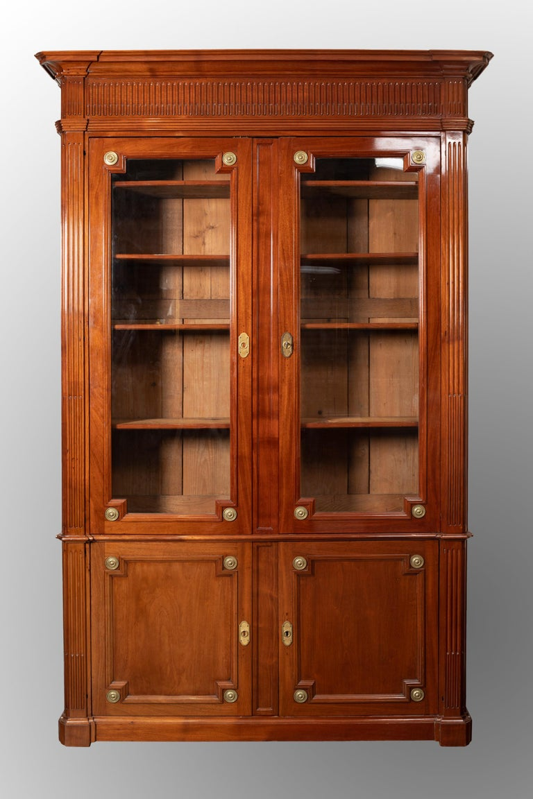 18th Century Period Mahogany Bookcase, Louis XVI, Stamped J.F Leleu For Sale 7