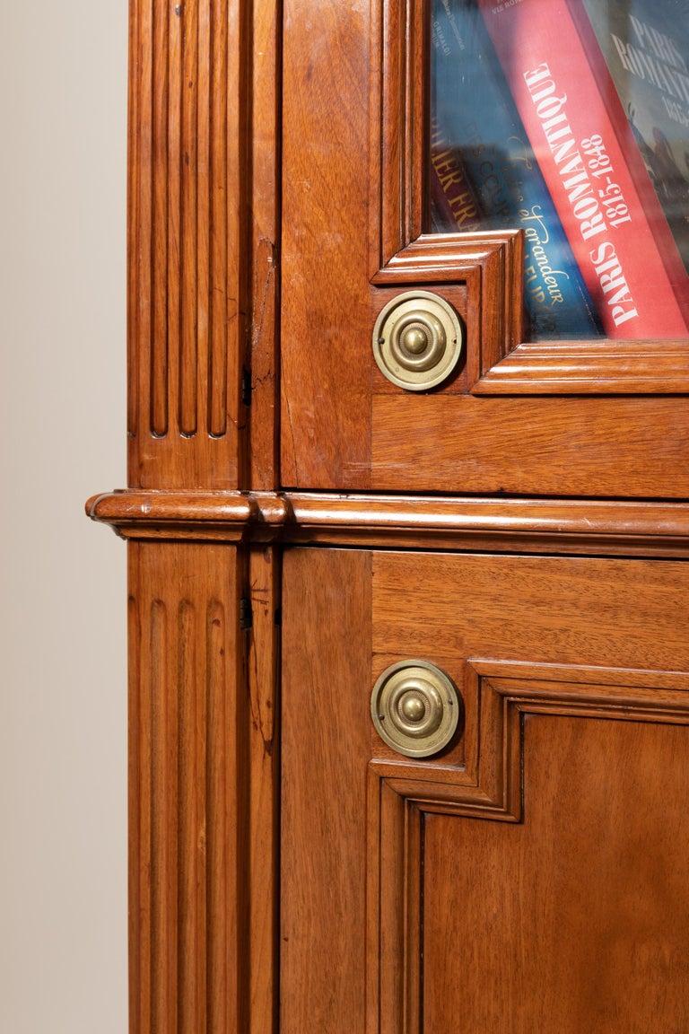 Veneer 18th Century Period Mahogany Bookcase, Louis XVI, Stamped J.F Leleu For Sale