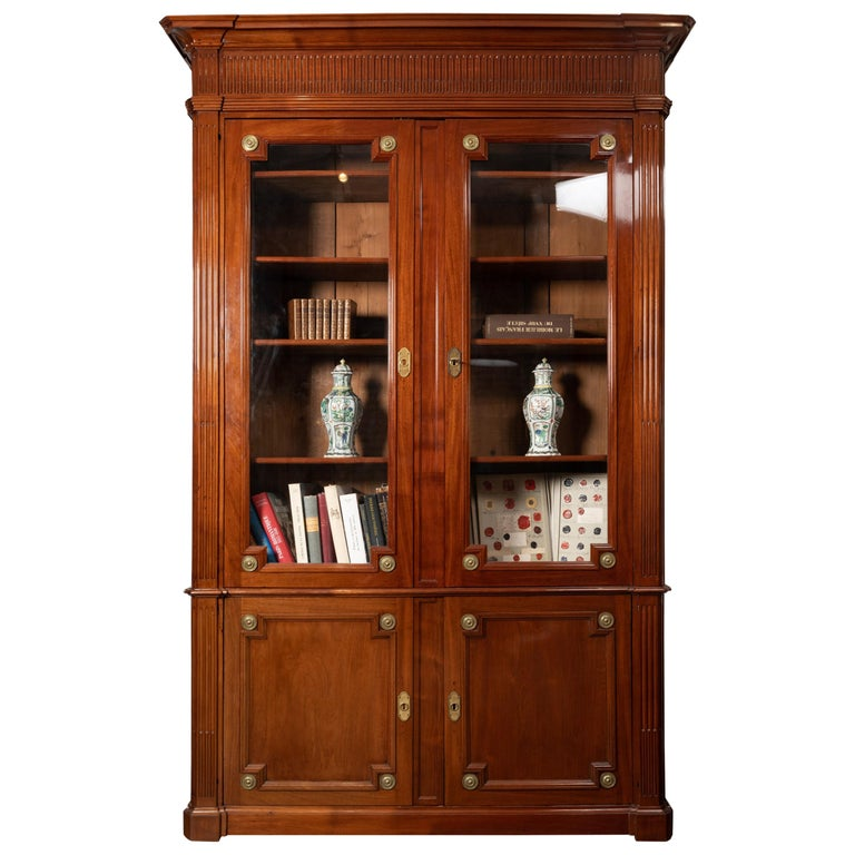 18th Century Period Mahogany Bookcase, Louis XVI, Stamped J.F Leleu For Sale