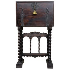 18th Spanish Bargueno of Columns with Foot Bridge, Cabinet on Stand