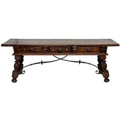 18th Spanish Bench or Low Console Table with Marquetry Drawers & Iron Stretcher