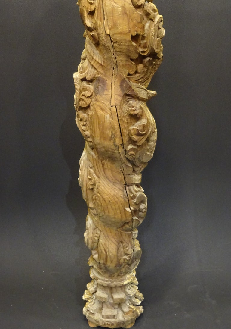Gold Leaf 18th Spanish Carved, Gold and Polychrome Wood Baroque Solomonic Column For Sale