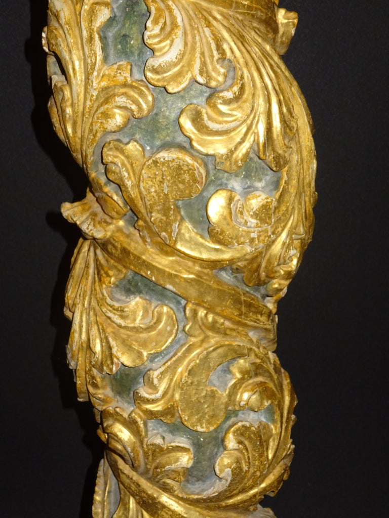 18th Spanish Carved, Gold and Polychrome Wood Baroque Solomonic Column For Sale 1