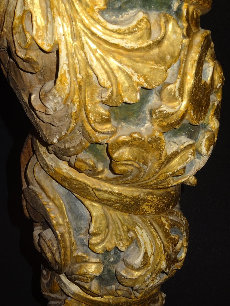 18th Spanish Carved, Gold and Polychrome Wood Baroque Solomonic Column For Sale 4