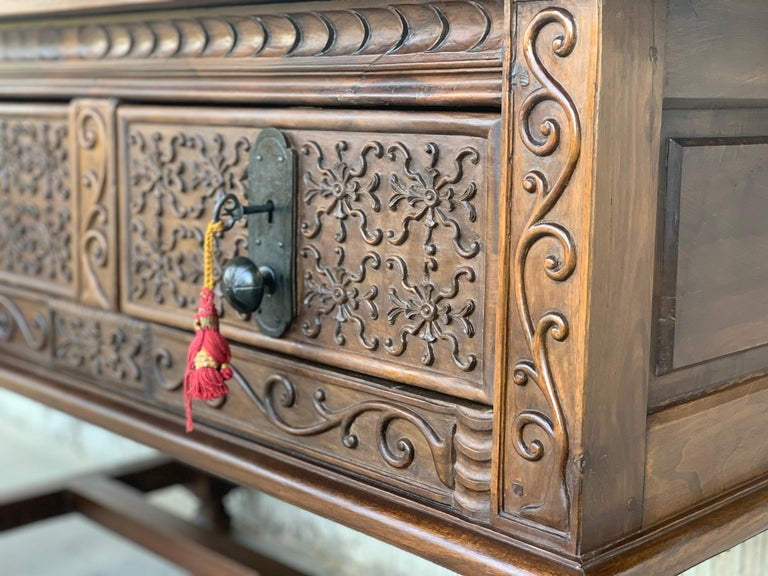 Spanish Console Chest Table with Two Carved Drawers and Original Hardware For Sale 4