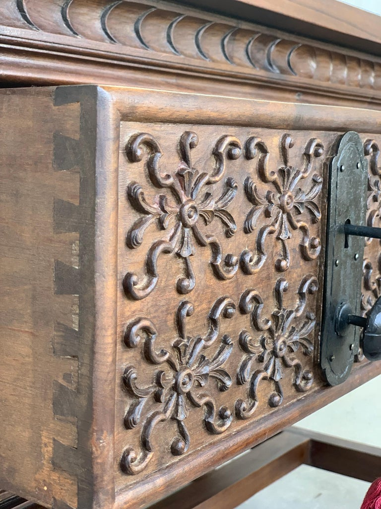 Spanish Console Chest Table with Two Carved Drawers and Original Hardware For Sale 5