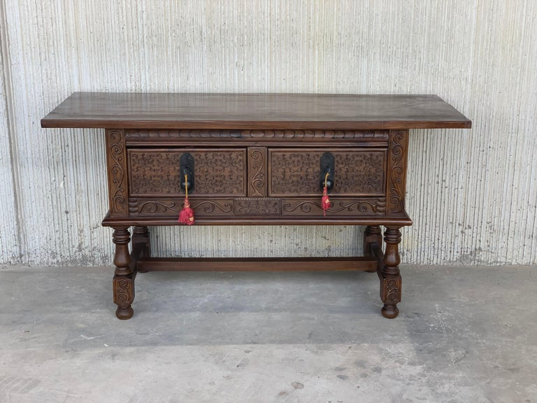 Baroque Revival Spanish Console Chest Table with Two Carved Drawers and Original Hardware For Sale