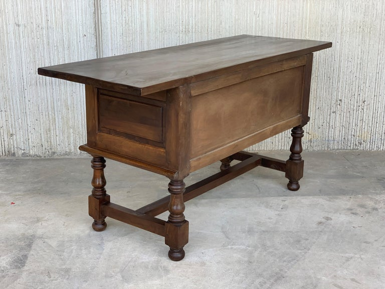 Spanish Console Chest Table with Two Carved Drawers and Original Hardware In Good Condition For Sale In Miami, FL