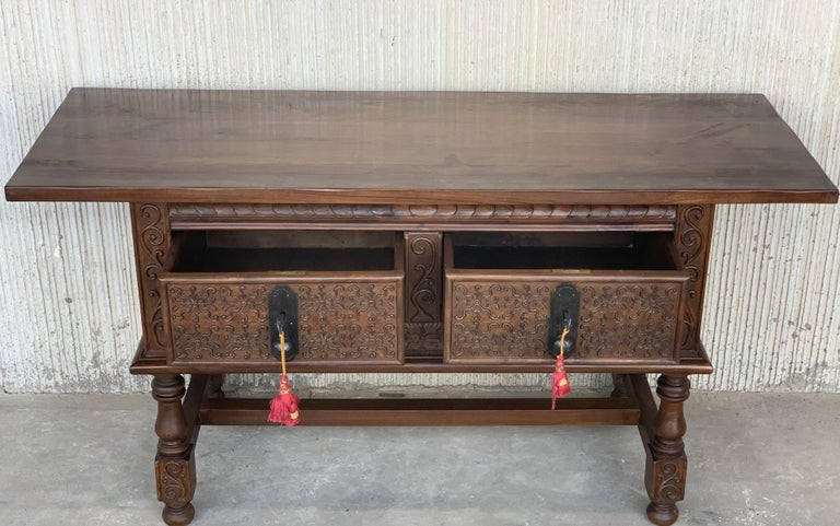 Iron Spanish Console Chest Table with Two Carved Drawers and Original Hardware For Sale