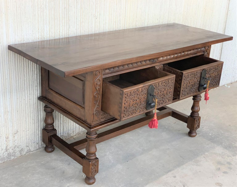 Spanish Console Chest Table with Two Carved Drawers and Original Hardware For Sale 1