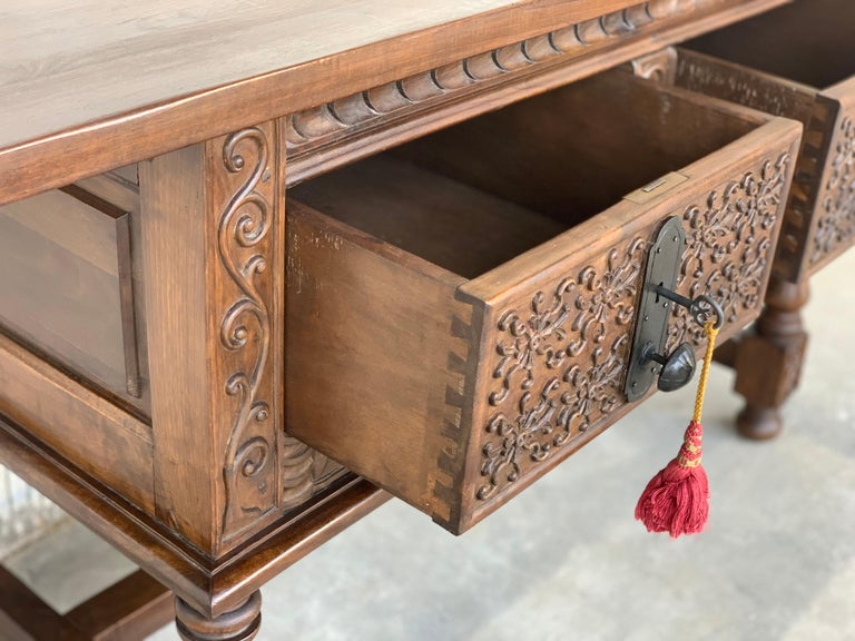 Spanish Console Chest Table with Two Carved Drawers and Original Hardware For Sale 3