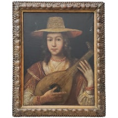 """18th-19th Century """"Girl With Lute"""" Original Oil Painting"""