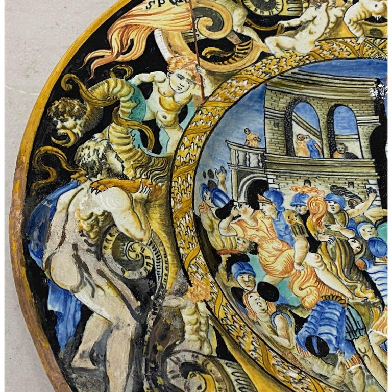 18th-19th Century Italian Istoriato Dish with Renaissance Figures In Fair Condition For Sale In San Francisco, CA