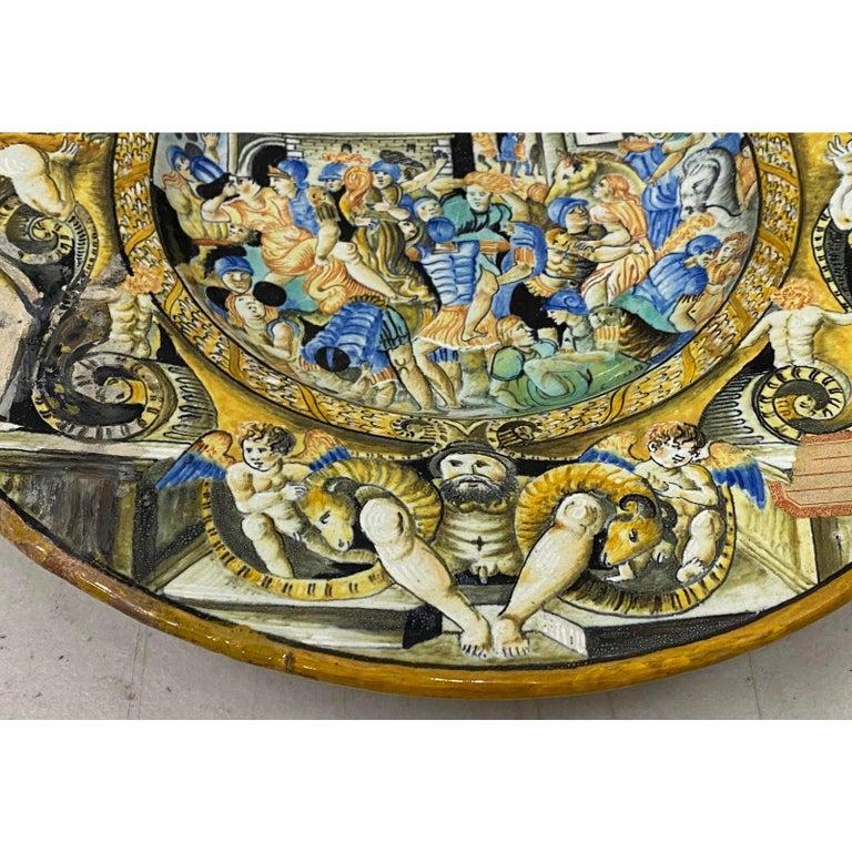 Ceramic 18th-19th Century Italian Istoriato Dish with Renaissance Figures For Sale