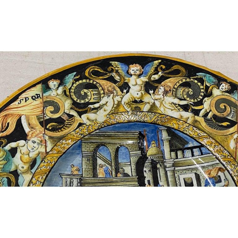 18th-19th Century Italian Istoriato Dish with Renaissance Figures For Sale 1