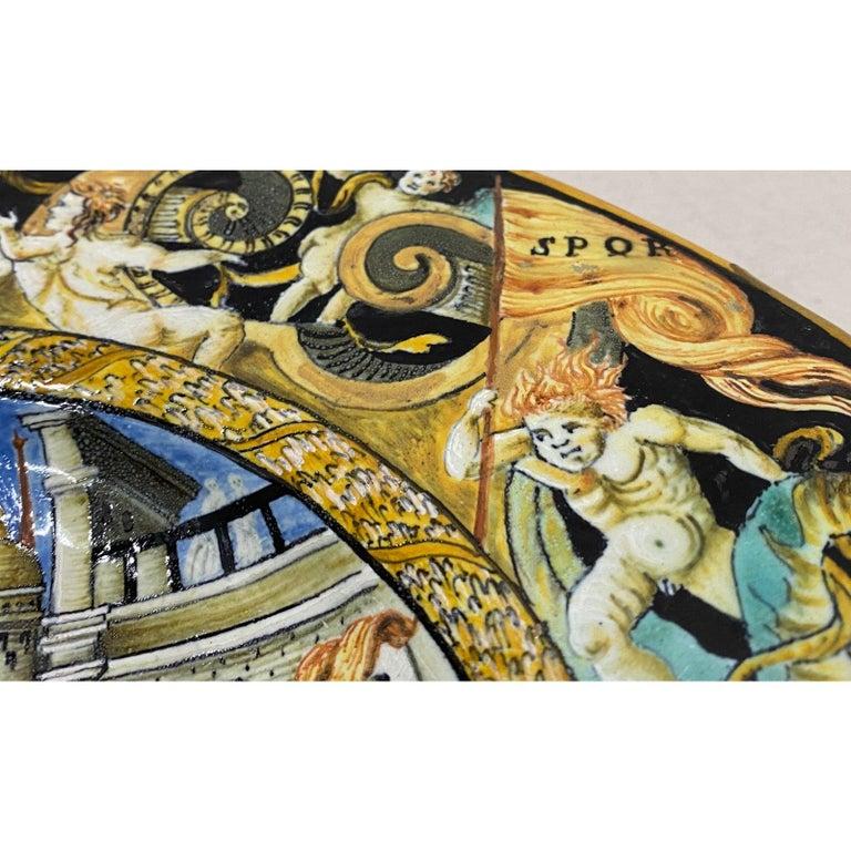 18th-19th Century Italian Istoriato Dish with Renaissance Figures For Sale 2