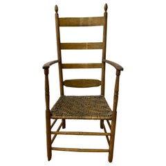 18th to 19th Century Ladder Back Chair with Reed Seat