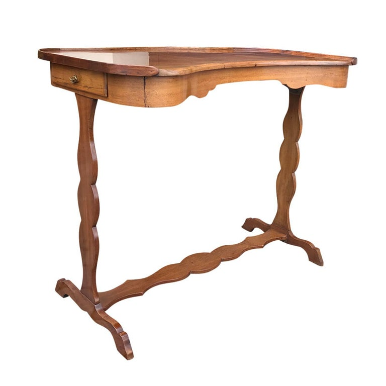18th-19th Century French Kidney Shape Writing Table with Slides