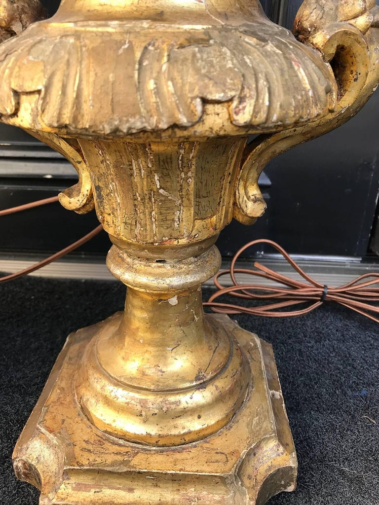 18th-19th Century Pair of Giltwood Lamps, Carved For Sale 3