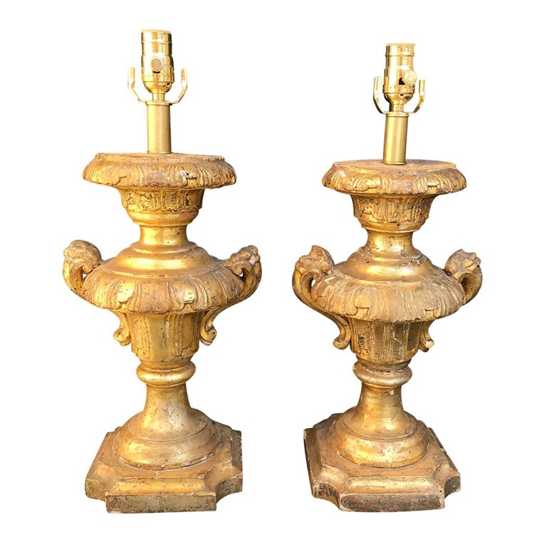 18th-19th Century Pair of Giltwood Lamps, Carved