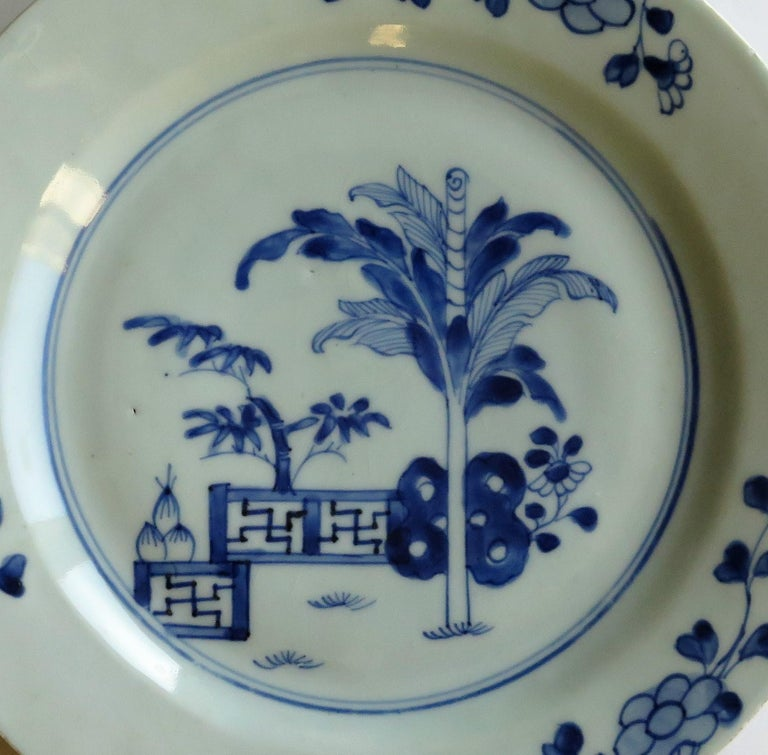 18th Century Chinese Porcelain Plate Blue and White Hand Painted, Qing For Sale 5