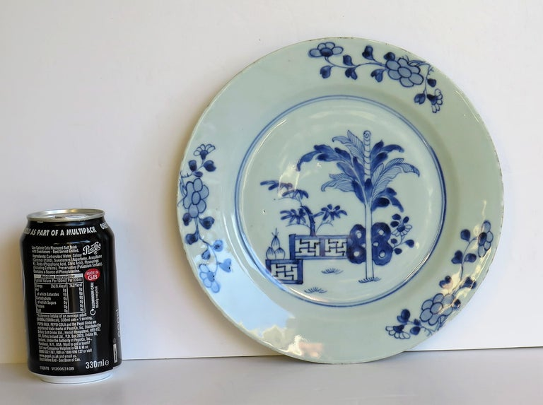 18th Century Chinese Porcelain Plate Blue and White Hand Painted, Qing For Sale 8