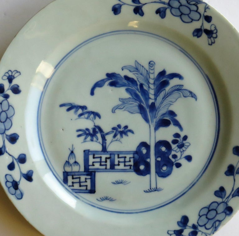 This is a beautiful hand painted blue and white Chinese porcelain plate, dating to the second half of the 18th century, circa 1770, Qing dynasty.  The plate is well potted, and has been hand decorated in a free flowing manner in varying shades of