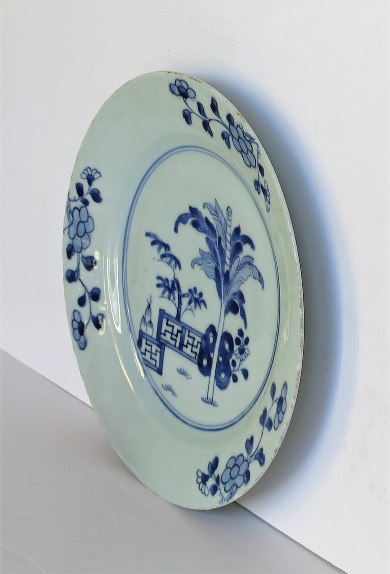 Hand-Painted 18th Century Chinese Porcelain Plate Blue and White Hand Painted, Qing For Sale