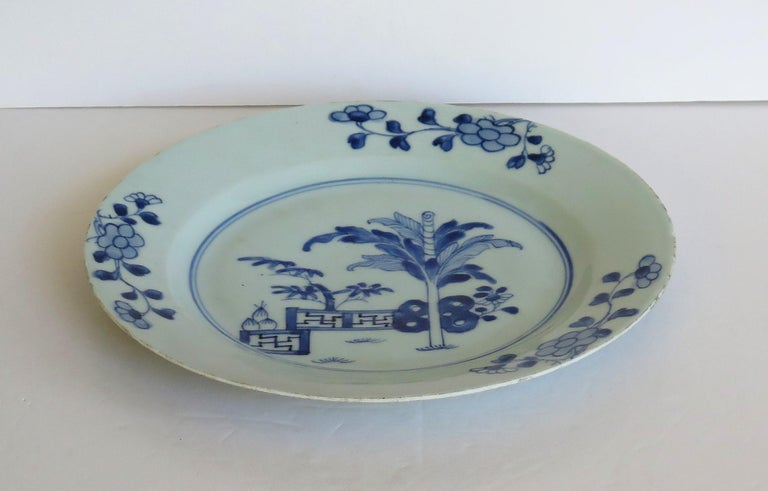 18th Century Chinese Porcelain Plate Blue and White Hand Painted, Qing In Good Condition For Sale In Lincoln, Lincolnshire