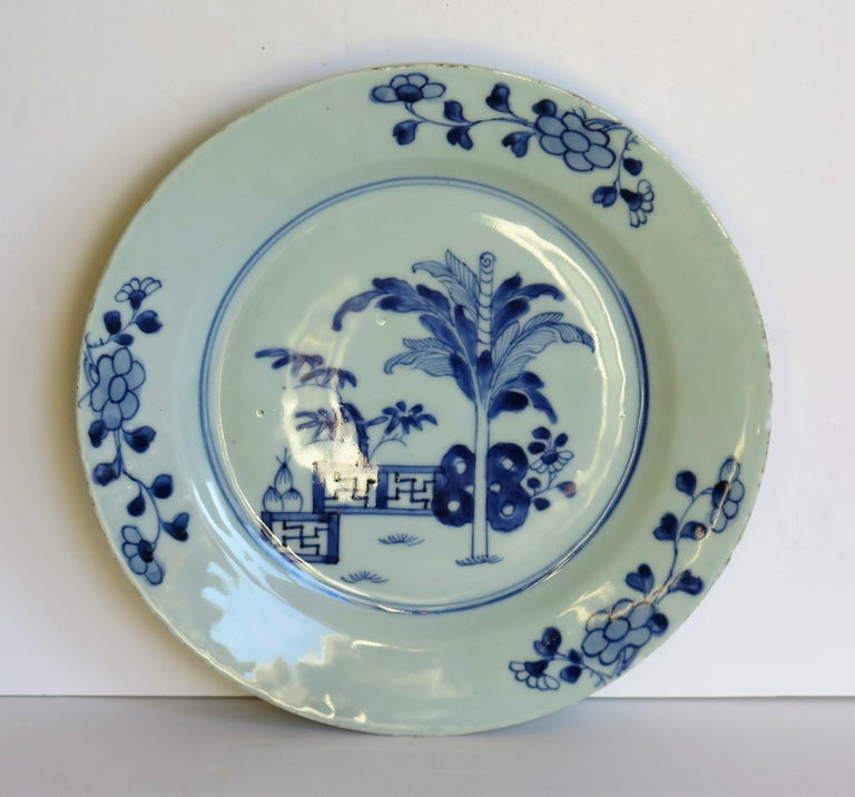 18th Century and Earlier 18th Century Chinese Porcelain Plate Blue and White Hand Painted, Qing For Sale