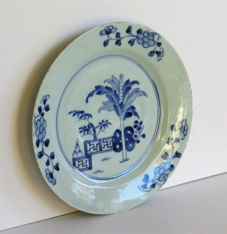 18th Century Chinese Porcelain Plate Blue and White Hand Painted, Qing For Sale 1