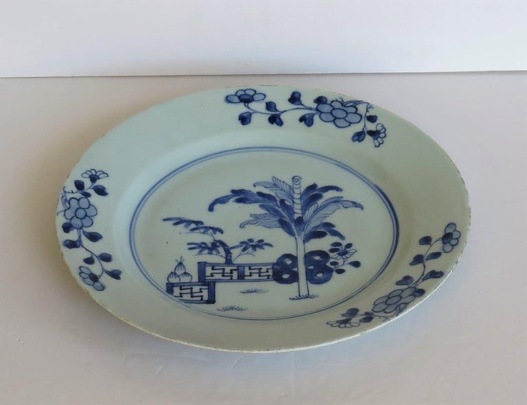18th Century Chinese Porcelain Plate Blue and White Hand Painted, Qing For Sale 2