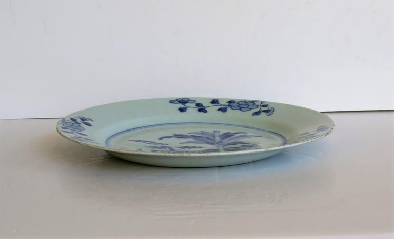18th Century Chinese Porcelain Plate Blue and White Hand Painted, Qing For Sale 3