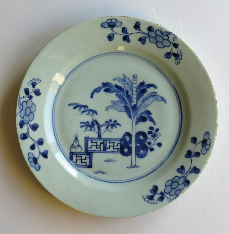 18th Century Chinese Porcelain Plate Blue and White Hand Painted, Qing For Sale 4