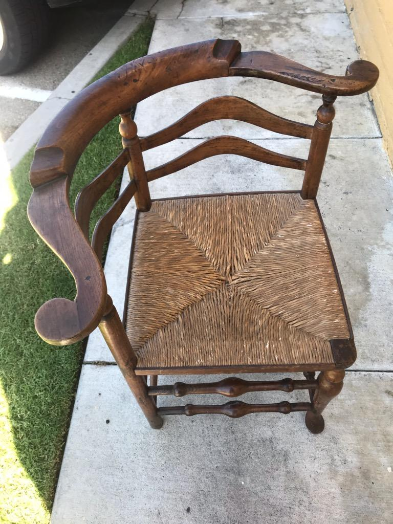 American 18th Century Corner Chair from New England with Original Woven Seat For Sale