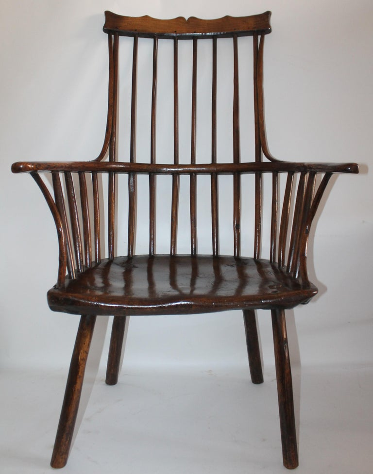Adirondack 18th Century English Extended Arm High Back Windsor Chair For Sale