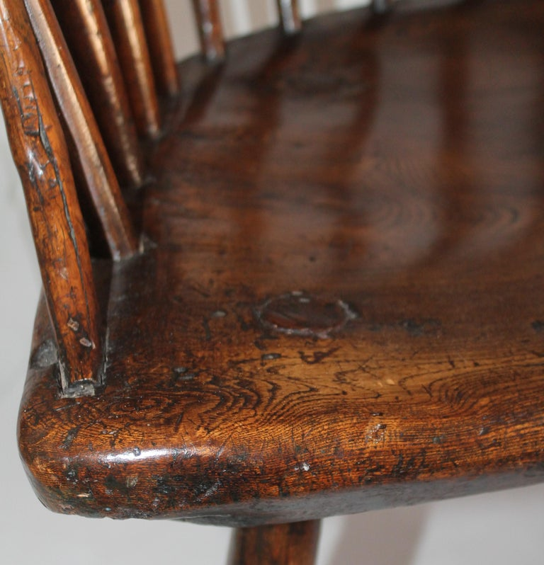 Late 18th Century 18th Century English Extended Arm High Back Windsor Chair For Sale